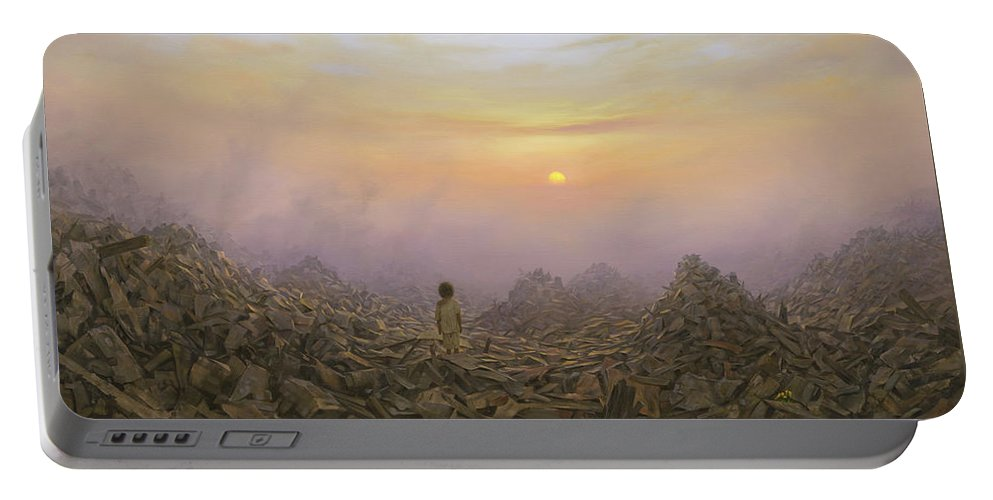 Landscape Portable Battery Charger featuring the painting Wasteland by Brian McCarthy