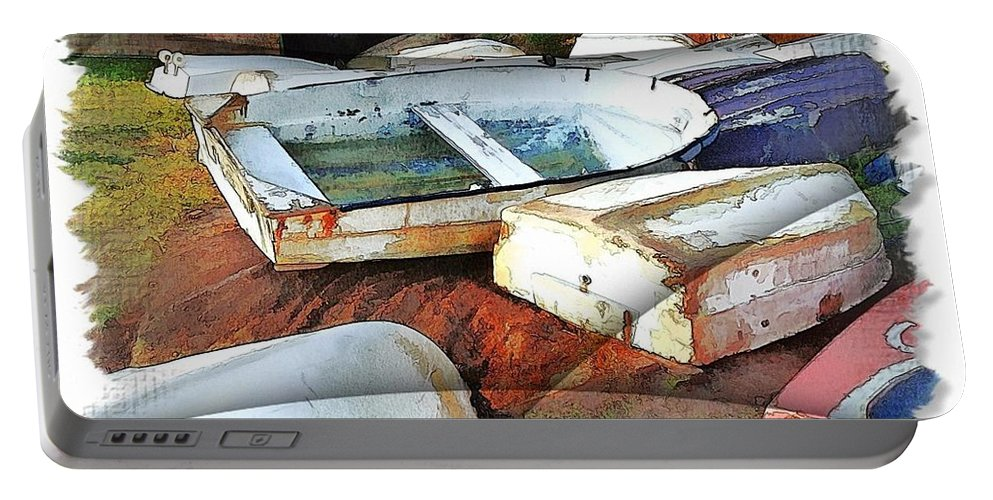Boats Portable Battery Charger featuring the photograph Wat-0012 Tender Boats by Digital Oil