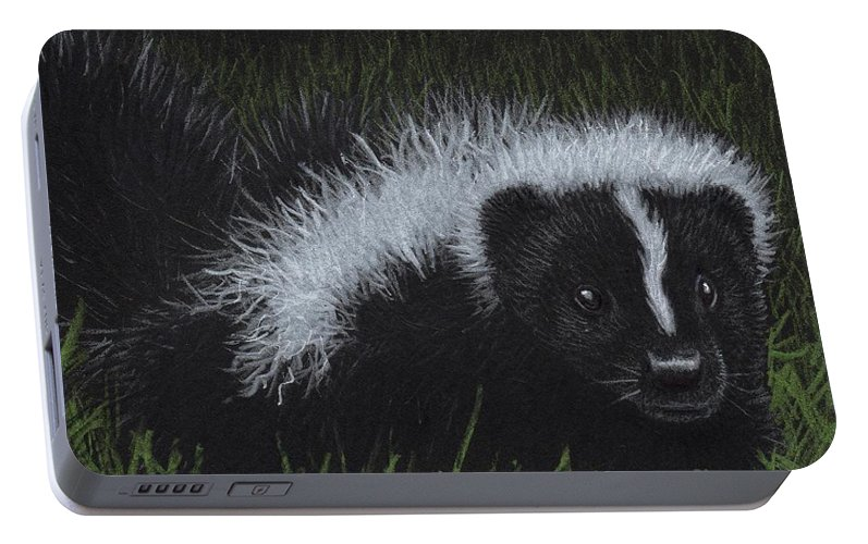 Skunk Portable Battery Charger featuring the painting Watch Out - There's A Baby Skunk In The Grass by Sherry Goeben