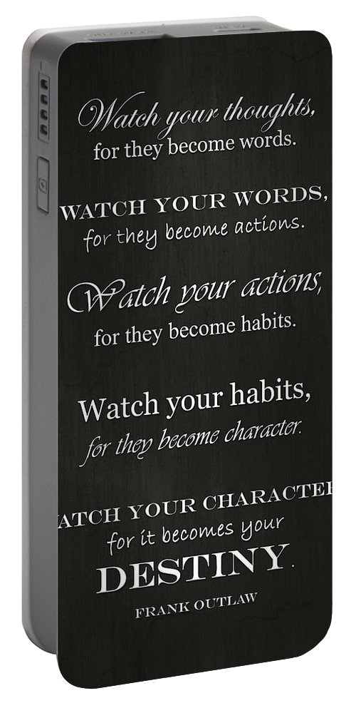 Watch Your Thoughts Portable Battery Charger featuring the photograph Watch Your Thoughts by Inspired Arts