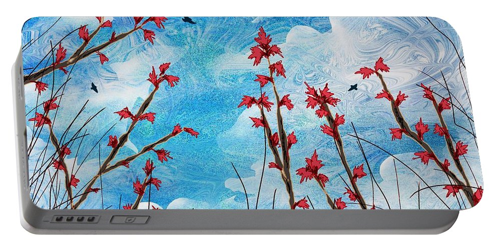 Abstract Portable Battery Charger featuring the digital art Watching Clouds Go By by Rachel Christine Nowicki