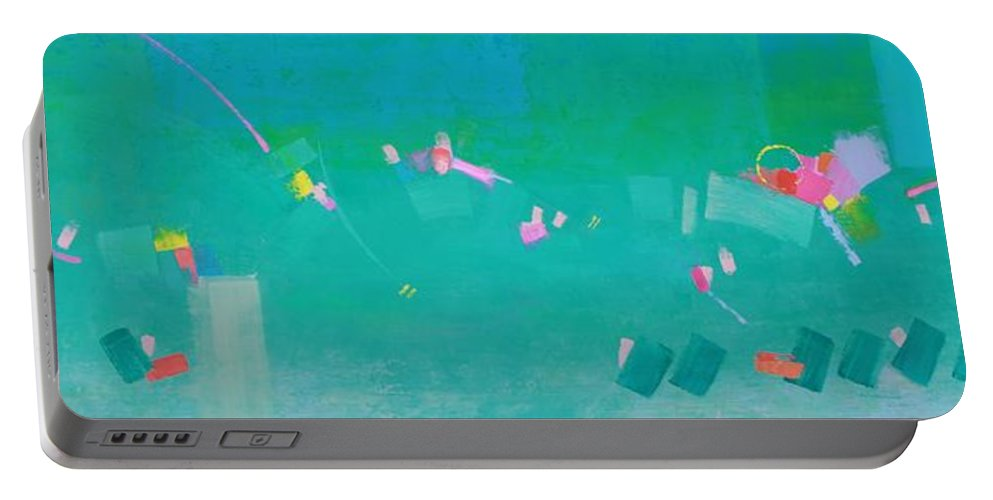 Abstract Portable Battery Charger featuring the painting Watching The Children Play by Gayle Levee