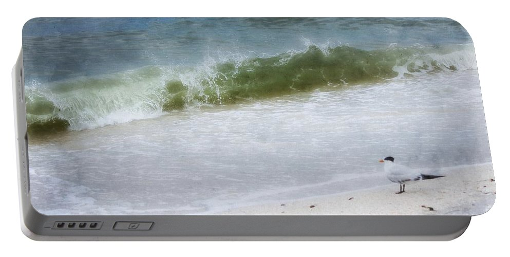 Coastal Photography Portable Battery Charger featuring the painting Watching Waves Crest And Break by Barbara Chichester
