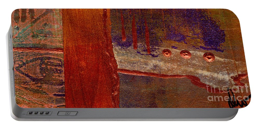Vibrant Portable Battery Charger featuring the mixed media Watching You by Angela L Walker