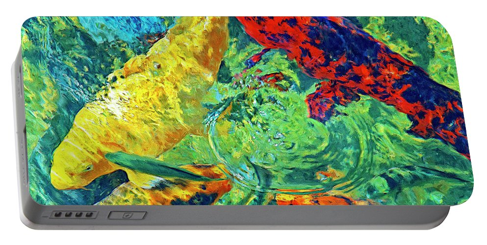 Koi Portable Battery Charger featuring the painting Water Ballet by Dominic Piperata