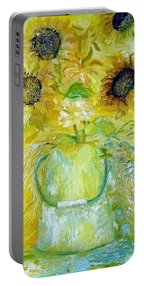 Flower Portable Battery Charger featuring the painting Water Can by Jack Diamond