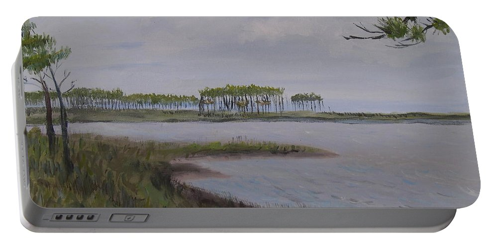 Landscape Beach Coast Tree Water Portable Battery Charger featuring the painting Water Color by Patricia Caldwell