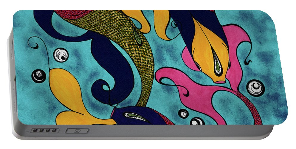 Fish Portable Battery Charger featuring the drawing Water Dance by Michele Sleight