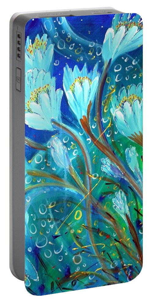Flowers Portable Battery Charger featuring the painting Water Flowers by Luiza Vizoli