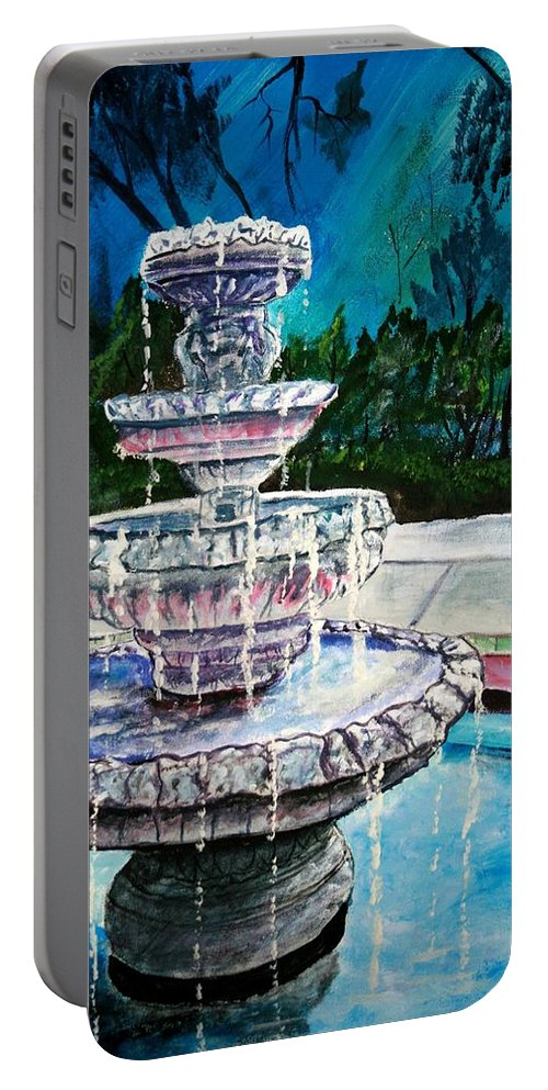 Acrylic Portable Battery Charger featuring the painting Water Fountain Acrylic Painting Art Print by Derek Mccrea