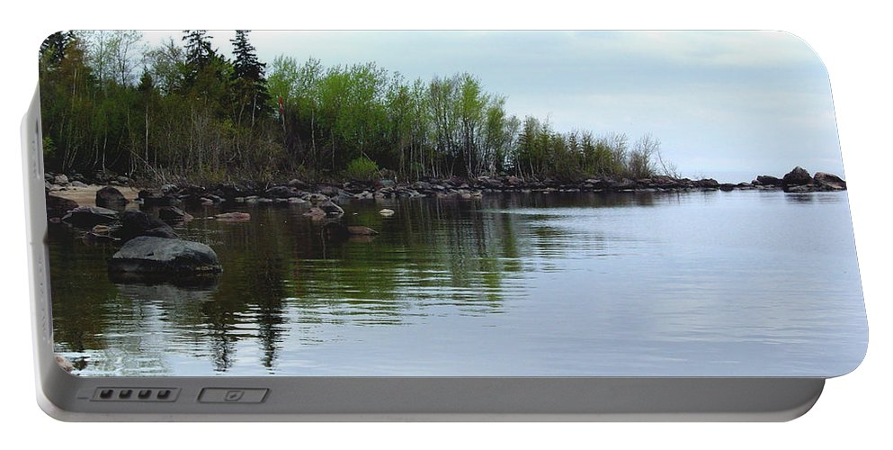 Grand Beach Shoreline Portable Battery Charger featuring the photograph Water Like Glass by Joanne Smoley
