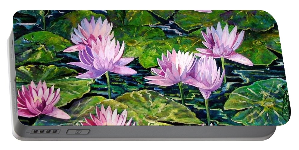 Flowers Portable Battery Charger featuring the painting Water Lilies by Caroline Street