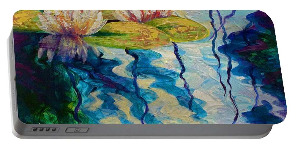 Water Lily Portable Battery Charger featuring the painting Water Lilies I by Marion Rose