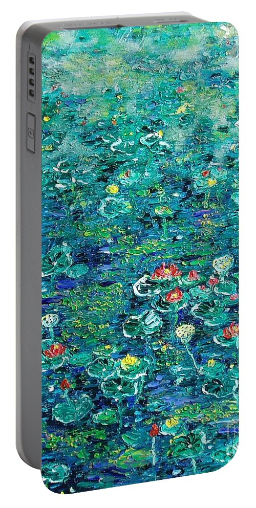Water Lily Paintings Portable Battery Charger featuring the painting Water Lilies Lily Pad Lotus Water Lily Paintings by Seon-Jeong Kim