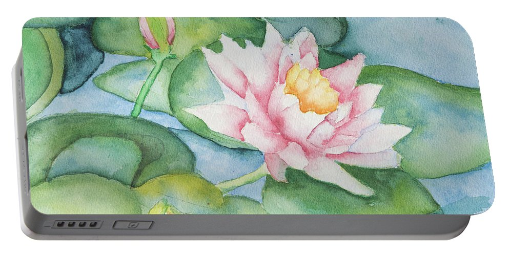 Buds Portable Battery Charger featuring the painting Water Lilies by Roger Grammond