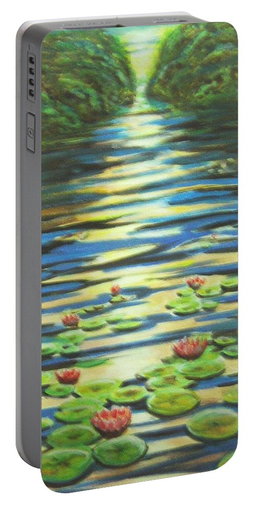 Dusk Portable Battery Charger featuring the painting Water Lillies At Dusk by Usha Shantharam