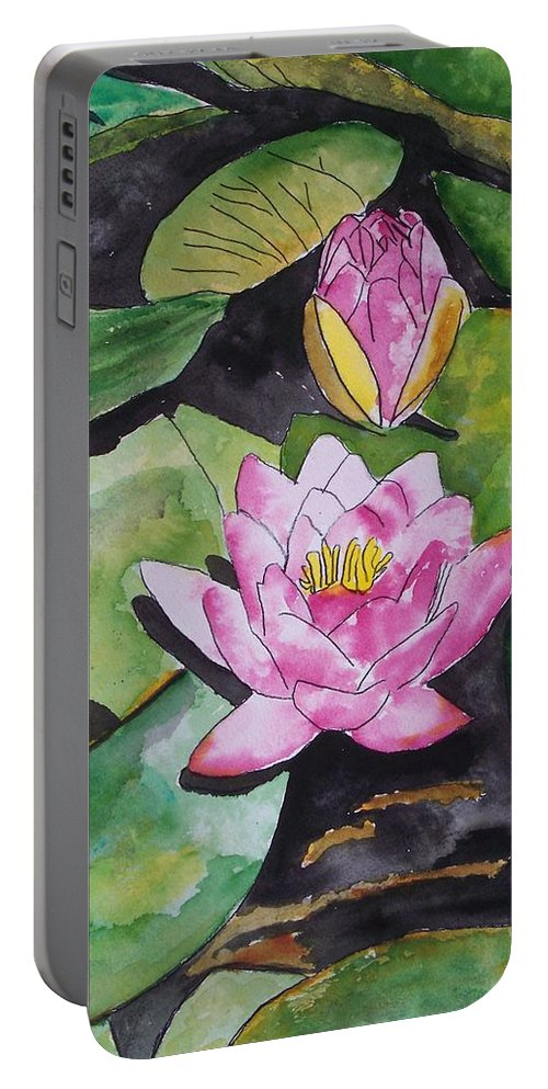 Water Lily Portable Battery Charger featuring the painting Water Lily by Derek Mccrea