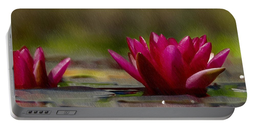 Red Portable Battery Charger featuring the painting Water Lily - Id 16235-220248-4550 by S Lurk