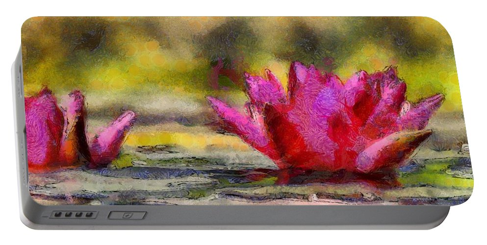 Red Portable Battery Charger featuring the painting Water Lily - Id 16235-220419-3506 by S Lurk