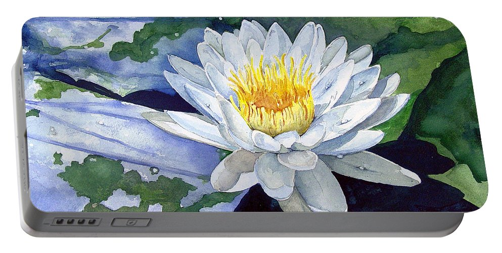 Flower Portable Battery Charger featuring the painting Water Lily by Sam Sidders