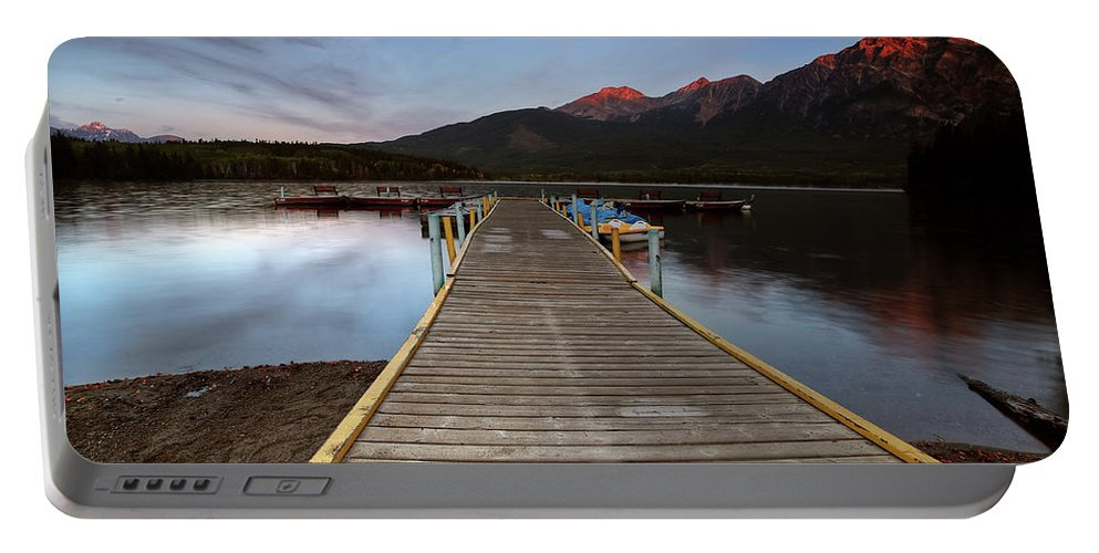 Docks Portable Battery Charger featuring the digital art Water Reflections At Pyramid Lake by Mark Duffy