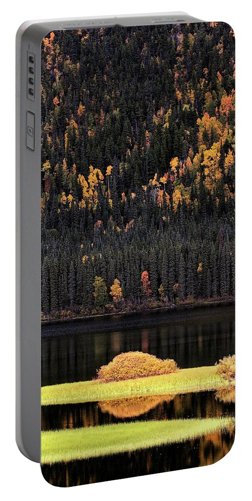 Autumn Portable Battery Charger featuring the digital art Water Reflections In Autumn by Mark Duffy