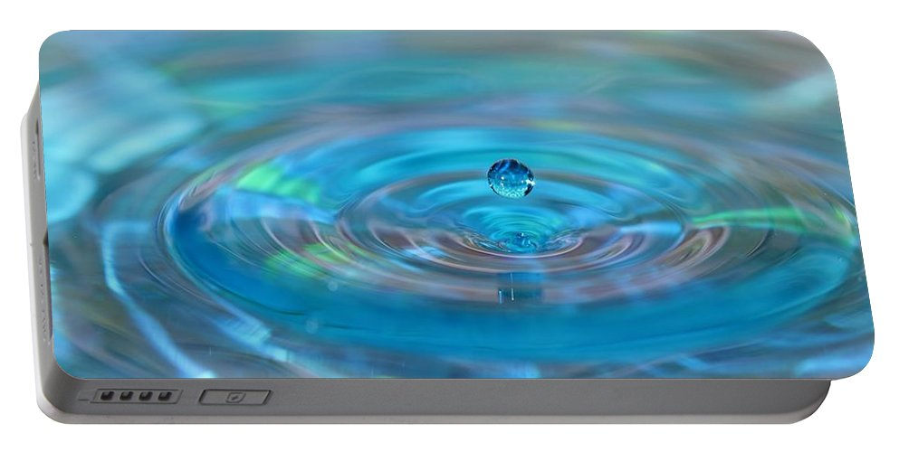Water Drop Portable Battery Charger featuring the photograph Water Sculpture Neon Blue 2 by Kristina Jones