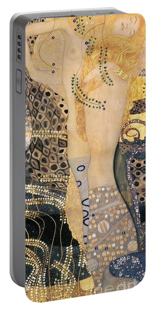 Gustav Klimt Portable Battery Charger featuring the painting Water Serpents I by Gustav klimt