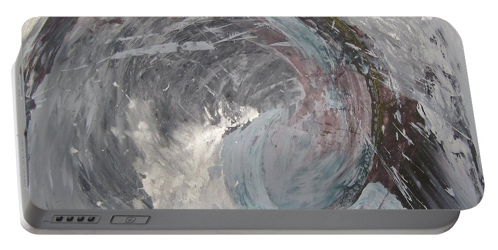 Sea Ocean Wave Abstract Portable Battery Charger featuring the painting Water Spirit by Peta Mccabe