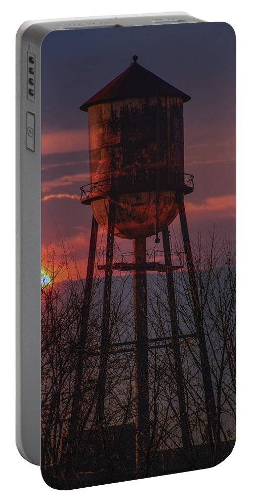 Water Portable Battery Charger featuring the photograph Water Tower Sunset by Bill Cannon