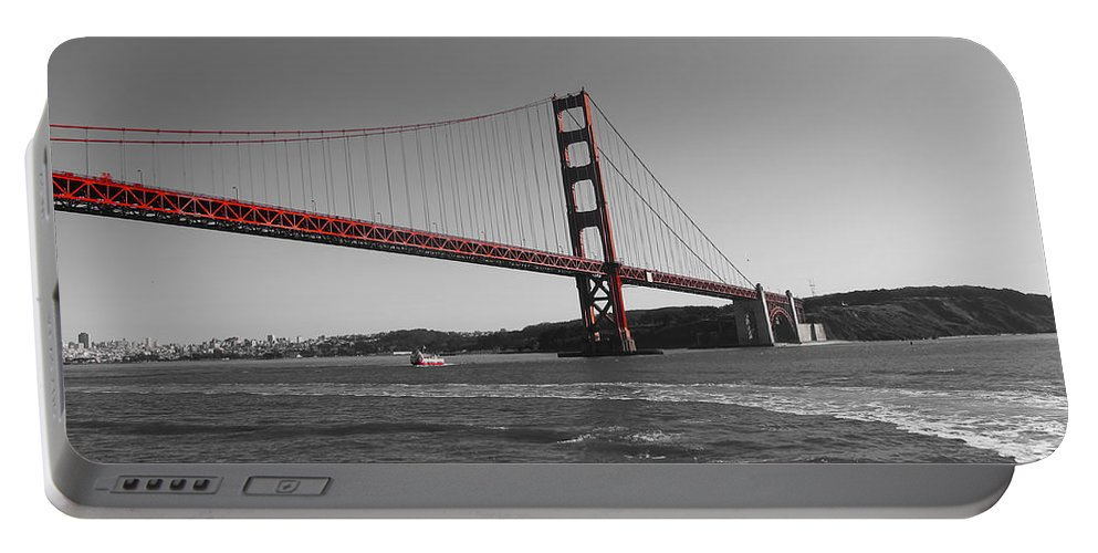 San Francisco Portable Battery Charger featuring the photograph Water Underneath The Bridge-black And White by Douglas Barnard