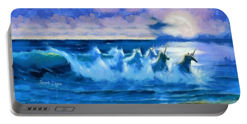 Bay Portable Battery Charger featuring the painting Water Unicorns by Leonardo Digenio
