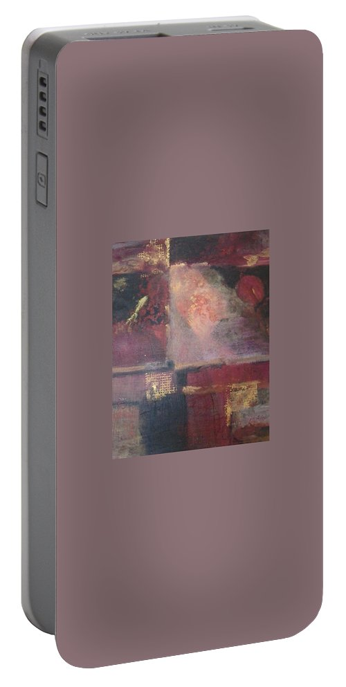 Abstract Portable Battery Charger featuring the mixed media Waterbucket by Pat Snook