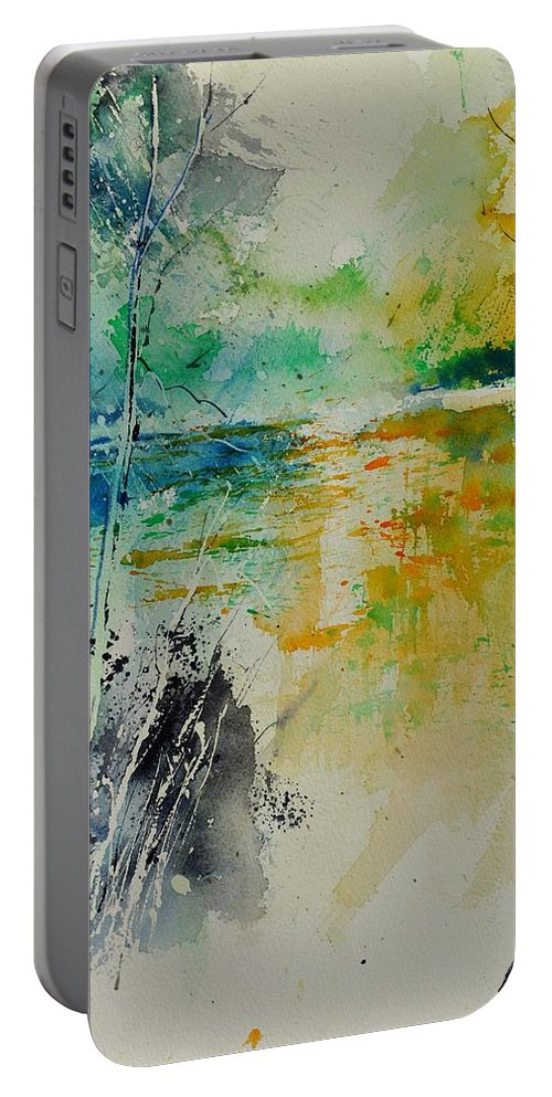 Pond Portable Battery Charger featuring the painting Watercolor 018080 by Pol Ledent