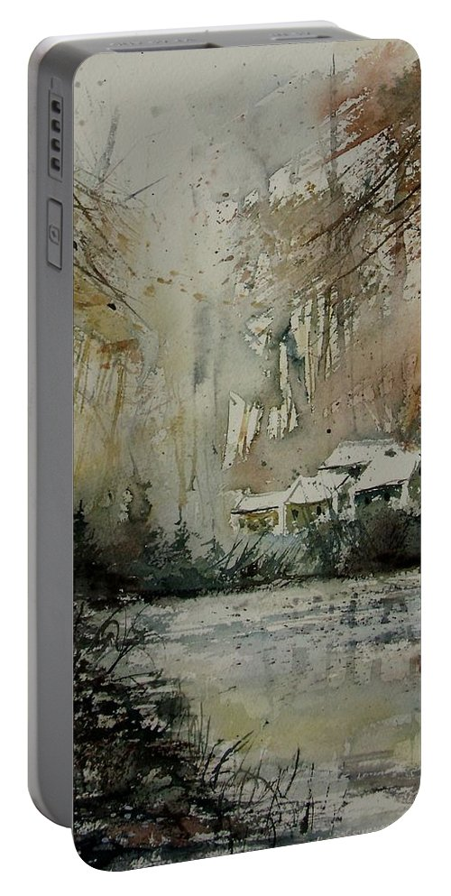 Landscape Portable Battery Charger featuring the painting Watercolor 070608 by Pol Ledent