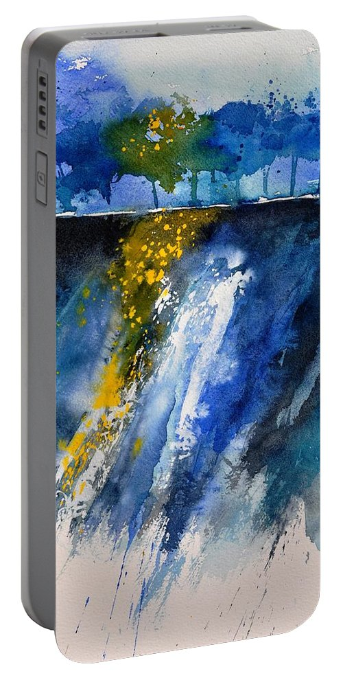 Abstract Portable Battery Charger featuring the painting Watercolor 119001 by Pol Ledent