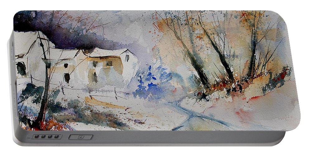 Village Portable Battery Charger featuring the painting Watercolor 15823 by Pol Ledent