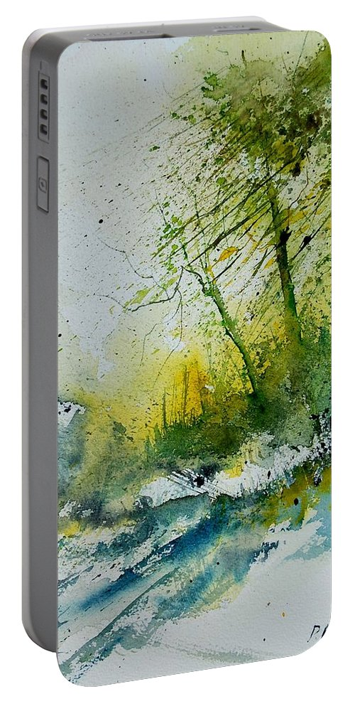 River Portable Battery Charger featuring the painting Watercolor 181207 by Pol Ledent