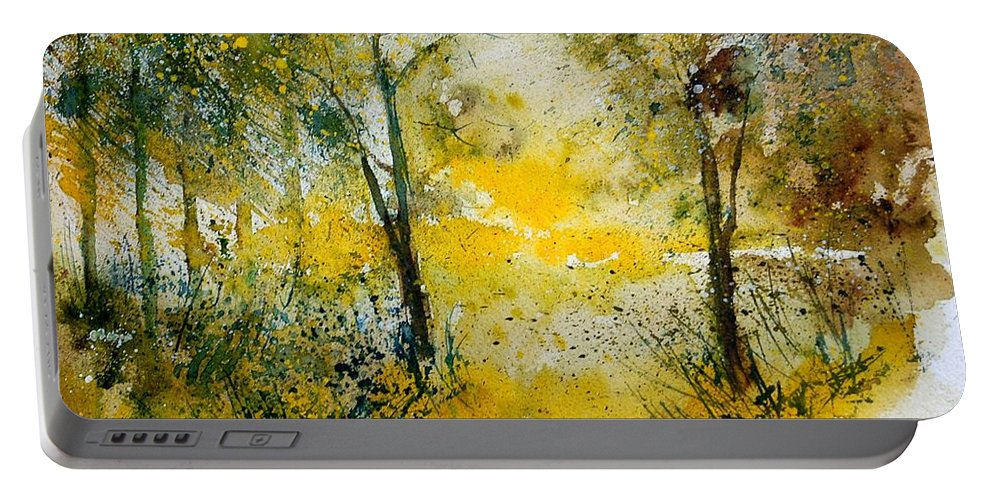 River Portable Battery Charger featuring the painting Watercolor 210108 by Pol Ledent