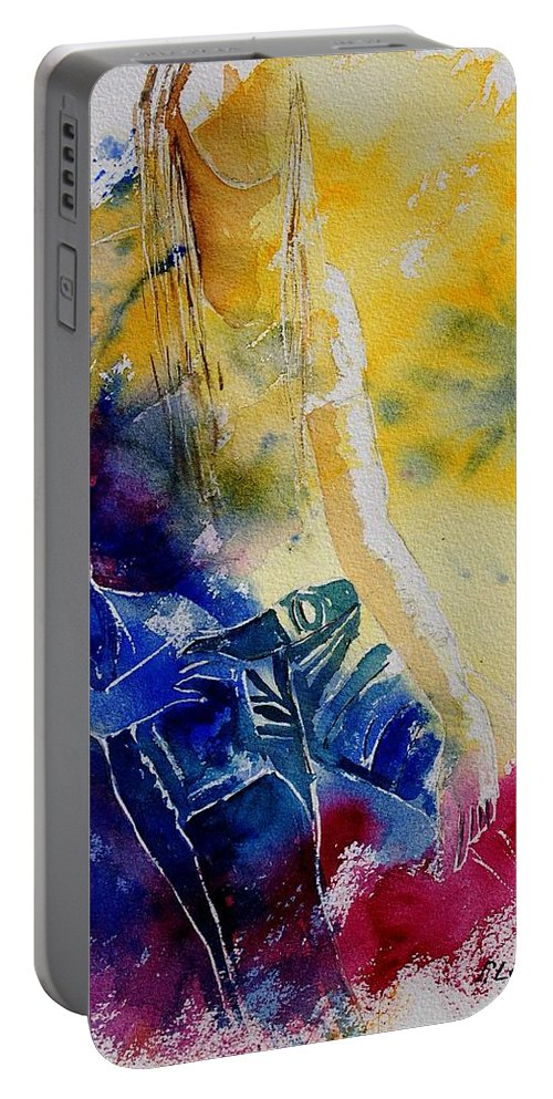 Girl Nude Portable Battery Charger featuring the painting Watercolor 21546 by Pol Ledent