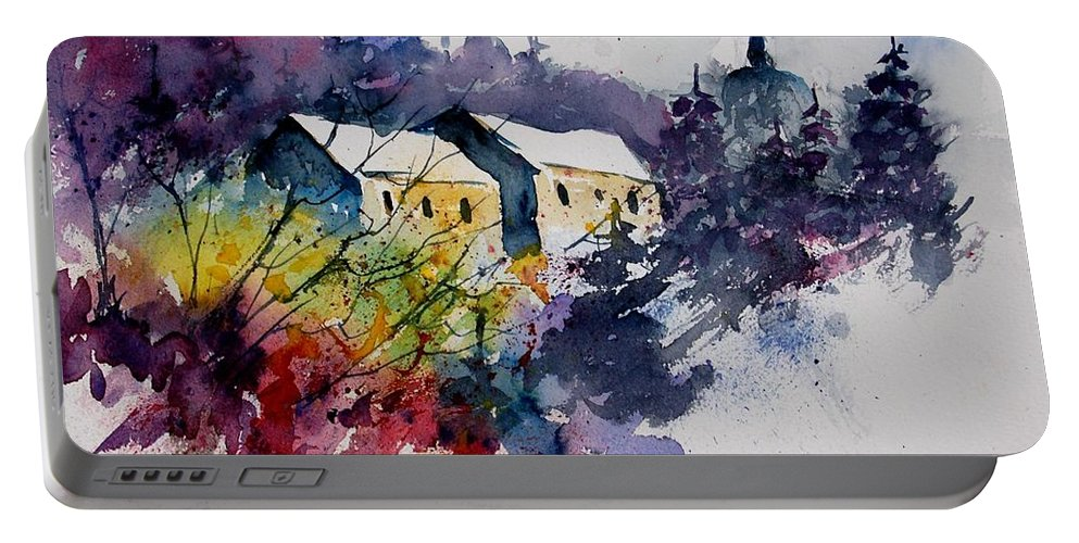 River Portable Battery Charger featuring the painting Watercolor 231207 by Pol Ledent