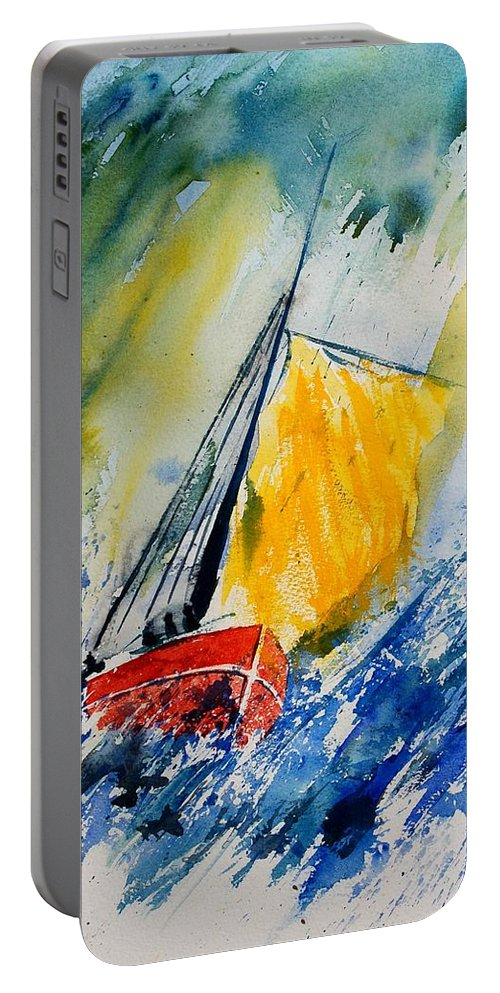 Sea Waves Ocean Boat Sailing Portable Battery Charger featuring the painting Watercolor 280308 by Pol Ledent