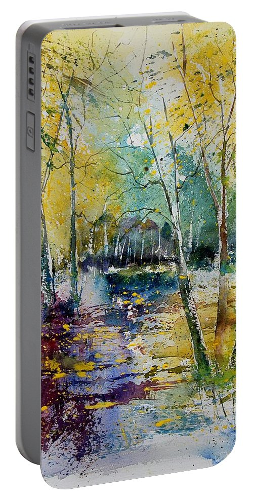 Pond Portable Battery Charger featuring the painting Watercolor 280809 by Pol Ledent