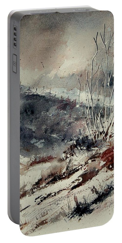 Snow Portable Battery Charger featuring the print Watercolor 446 by Pol Ledent