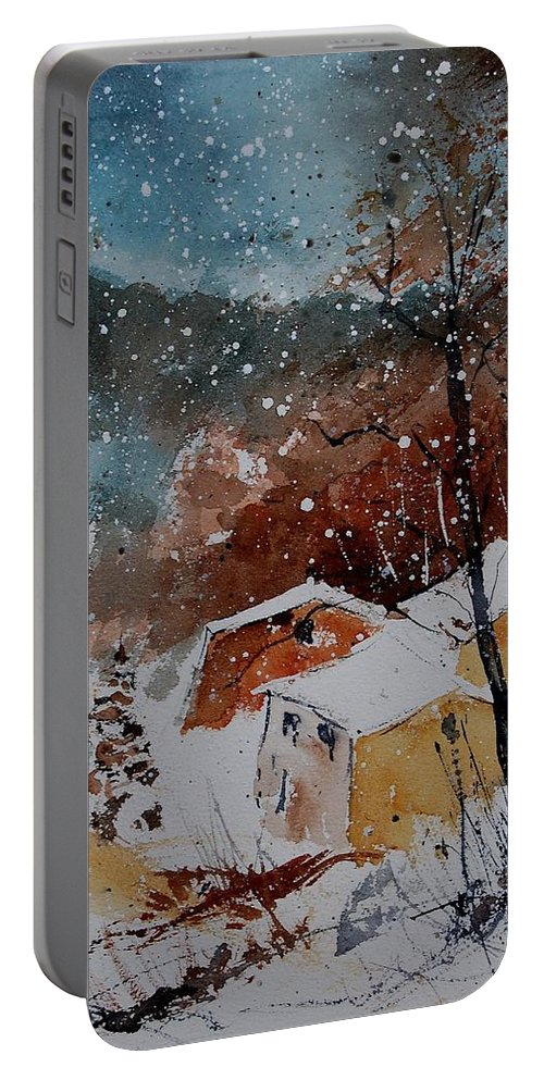 Winter Portable Battery Charger featuring the painting Watercolor 902113 by Pol Ledent