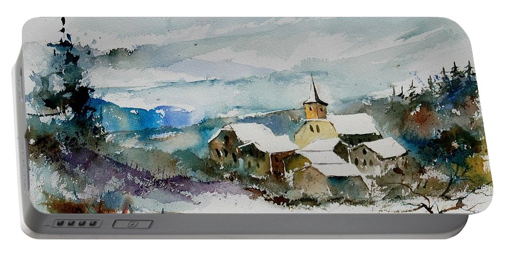 Winter Portable Battery Charger featuring the painting Watercolor 908011 by Pol Ledent