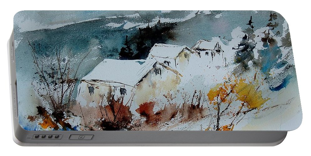 Winter Portable Battery Charger featuring the painting Watercolor 9090723 by Pol Ledent