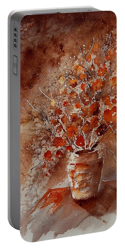 Poppies Portable Battery Charger featuring the painting Watercolor Autumn Bunch by Pol Ledent