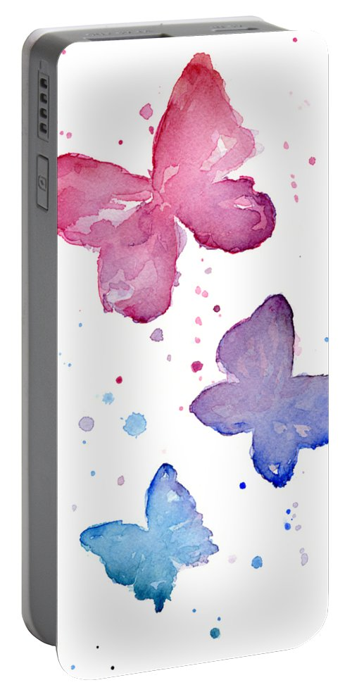 Watercolor Portable Battery Charger featuring the painting Watercolor Butterflies by Olga Shvartsur