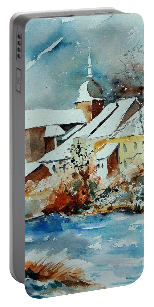 Landscape Portable Battery Charger featuring the painting Watercolor Chassepierre by Pol Ledent